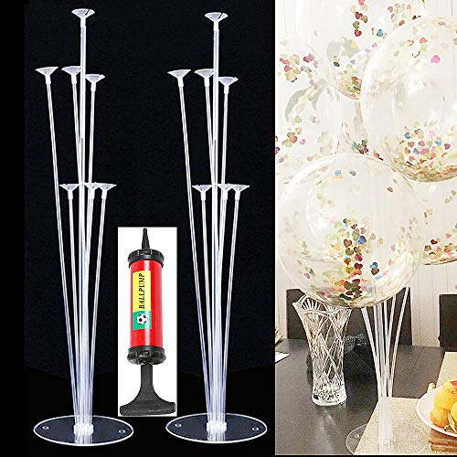 Hofumix Balloon Stands DIY Balloon Holder 2 Set Clear Table Desktop Balloon Holders with Balloon Sticks, Balloon Cups, Balloon Base, Small Pump for Birthday Wedding Party, Baby Showers, Engagements]()