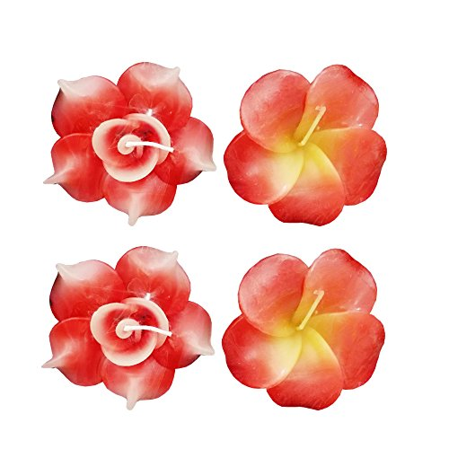 4pcs Premium Flower Shape Floating Candles for Home Decor Office Spa Hotel Wedding Party Diwali Dipawali