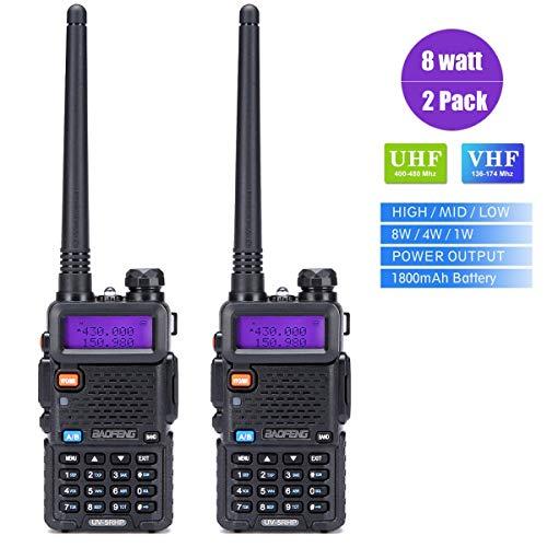 Walkie Talkies 2 Way Radio BaoFeng Radio Radio UV-5RH High Power 8 Watt Dual Band دو طرفه رادیو دو طرفه برای پیاده روی کمپینگ ترولینگ (نسخه جدید Baofeng UV-5R) توسط LUITON (2 بسته)