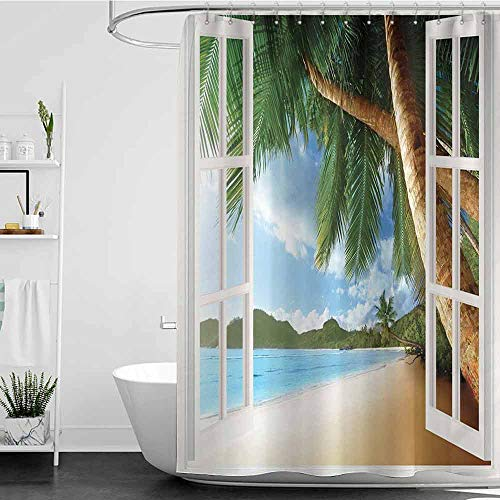 branddy Shower Curtains Kids Personalized,Gazebo Theme Curtains s Palm Tree Wooden Windows and Panoramic,Blue Green White Brown W48 x L84,Shower Curtain for Kids