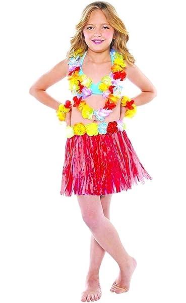 Falda verde hawaiana con aplicación de flores rojas Talla 5 - 7 ...