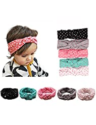 American Trends Baby Girl Big Bow Elastic Headbands Cute Turban Hairband(B-5 Pairs-Mix Color)