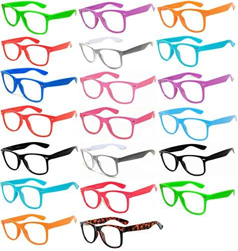 (20 Pieces Per Case) Wholesale Lot Clear Lens Glasses. Assorted Colored Frame Fashion Glasses. Bulk Glasses - Wholesale Bulk Nerdy Party Glasses, Party Supplies. (Party Wholesale)