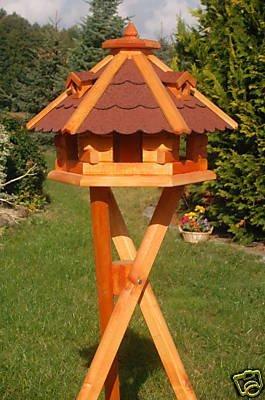 Vogelhäuschen, Vogelhaus mit Bitumschindeln, behandelt mit Ständer Vogelhäuschen behandelt mit Ständer Deko-Shop-Hannusch