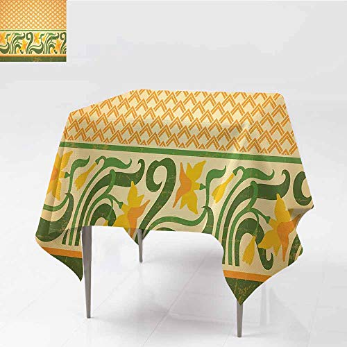 (Wrinkle Resistant Tablecloth Art Nouveau Fresco Ornament Geometric Pattern with Exotic Daffodil Floral Border Orange Yellow Green Easy to Clean W50 xL50)