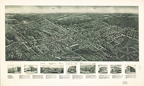Map: 1924 Aero-view of Pearl River, New York, 1924 New York Pearl River Pearl River - Oaks River Shopping