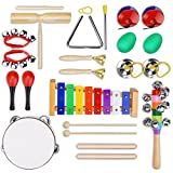 YISSVIC 12Pcs Kids Musical Instruments Xylophone Set Percussion Toy Rhythm Band Set Drum with Carrying Bag