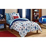 Dovedote 5 Piece Reversible Comforter and Matching Sheet Set for All Seasons, Twin , Ocean Boy