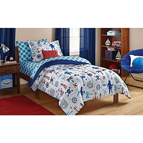 Dovedote 5 Piece Reversible Comforter and Matching Sheet Set for All Seasons, Twin , Ocean Boy - Cotton Twin Size Bed In A Bag