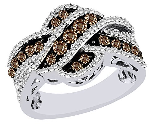AFFY Brown & White Natural Diamond Crises Cross Ring In 14k Two Tone White Gold Over Sterling Silver (0.11 (0.11 Ct Diamond Cross)