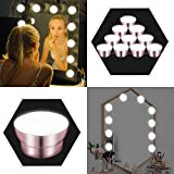 LED Vanity Mirror Lights Kit, Hollywood Style Makeup Mirror Bathroom Light with 10 LED Dimmable Bulbs 5 Brightness, Lighting Fixture Strip 13.8FT Adjustable Cable for Makeup Dressing Table by Cotify