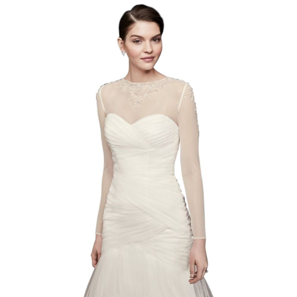 David's Bridal Filigree Beaded Long-Sleeve Dress Topper Style OW2005, Ivory, 10