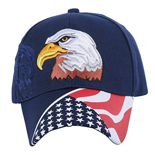 Sakikuza Embroidered American Flag & Eagle Baseball Cap Embroidery Stitches Navy Blue ()