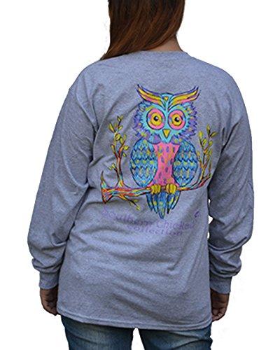 (Southern Chickadee Preppy Owl Printed Long Sleeve Tee - Sport Grey (3XL))