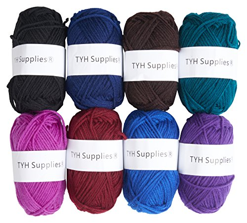 Araucania Collection (TYH Supplies 8 Skeins Bonbons Yarn Assorted Colors 32g (70yd) the yarn it is 100% Acrylic (Dark))