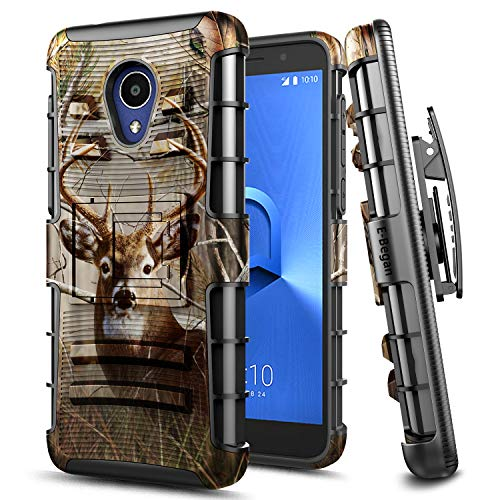 Alcatel IdealXtra Case, Alcatel 1X Evolve/Alcatel TCL LX Case (A502DL), E-Began Belt Clip Holster with Kickstand Protective Hybrid Cover Heavy Duty Armor Defender Shockproof Rugged Case (Deer)