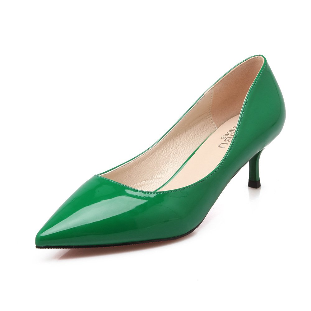 Tip, with single shoes fine with 5cm four seasons with low vocational high-heeled shoes, Green 39