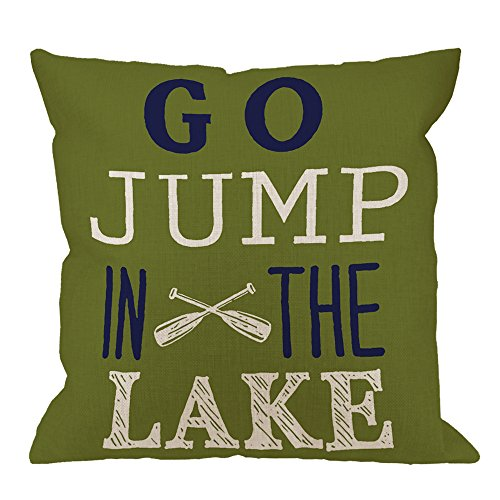 HGOD DESIGNS Throw Pillow Case Go Jump in The Lake Cotton Linen Square Cushion Cover Standard Pillowcase for Men Women Home Decorative Sofa Armchair Bedroom Livingroom 18 x 18 inch (Jump Go In The Lake)