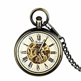 Retro Pocket Watch for Men Women Bronze Half Hunter Steampunk Skeleton Mechanical With Chain + Box
