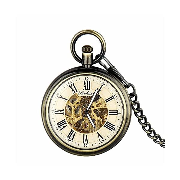 Retro Pocket Watch for Mens Wooden Open face Steampunk Skeleton Mechanical with Chain + Box 3