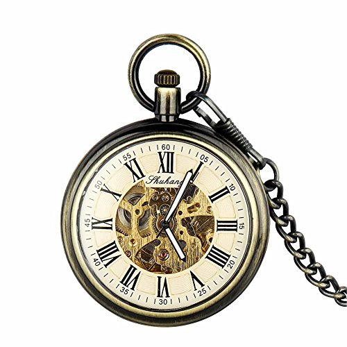 Retro Pocket Watch for Men Women Bronze Half Hunter Steampunk Skeleton Mechanical With Chain + Box by ielego
