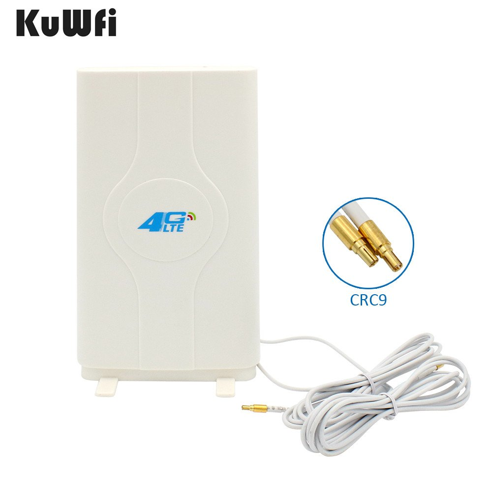 KuWFi 4G LTE Antenna CRC9 Connector,4G MIMO Antenna 88dbi Extrem High Gain 4G LTE External Panel Antenna 700-2600MHz Antenna Extend Your Signal Range Indoors or in Fringe Network Areas
