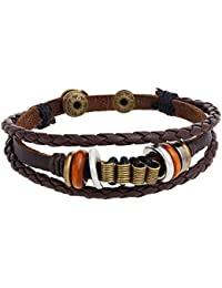 """<span class=""""a-offscreen"""">[Sponsored]</span>Tribal Leather Wristband Spring Surf Charms Brown Braided Men's Adjustable Bracelet."""