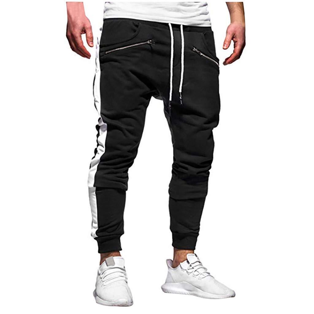Mens Casual Sweatpants - Zipper Pure Color Casual Pocket Comfortable Sport Trouser Work Pants Overalls
