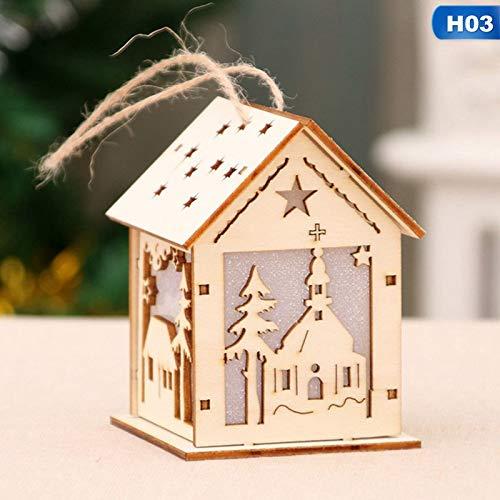 KathShop 1PC Festival LED Light Wood House Christmas Tree Hanging Ornaments Holiday Nice Xmas Gift Wedding Decoration
