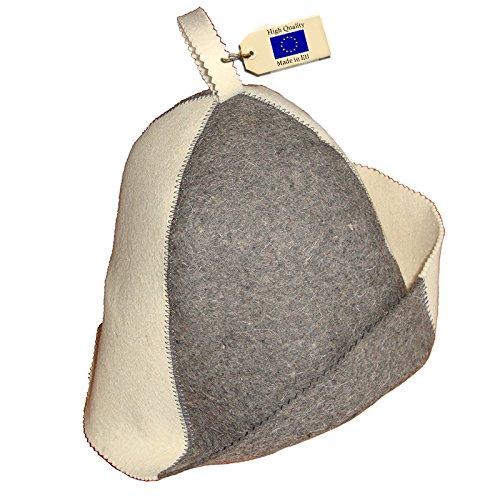 Allforsauna Sauna Hat Russian Banya Cap 100% Wool Felt Modern Lightweight Head Protection for Men and Women | White/Grey