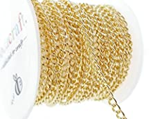 Light gold cuban curb link chain for jewelry making & crafts        Qty: 10ft (3.1m) Size: 2.9w x 3.9l x .8h Links: Unsoldered Color: Light gold Style: Curb Packaging: Plastic mini spools