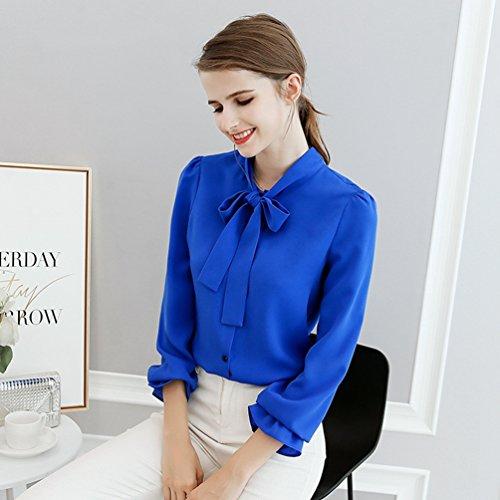 Elegante Donna e Camicia Lunghe Colletto Camicia con Vintage Bluse Chiffon Maniche YiLianDa Camicetta a Casual con Primavera Blu Stand Fiori qgp1w5xE