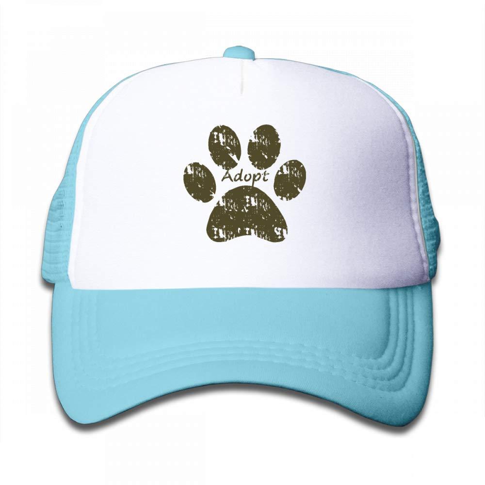 Kid's Boys Girls Dog Paw Print Adopt Youth Mesh Baseball Cap Summer Adjustable Trucker Hat