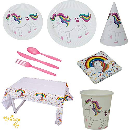 Unicorn Birthday Party Supplies Pack for 10 guests, includes: 9