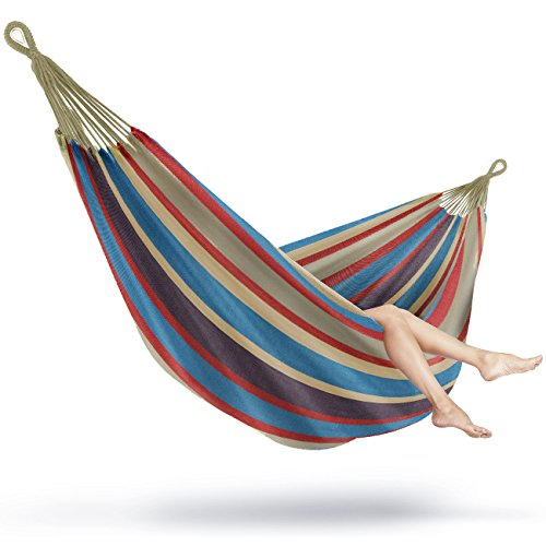 Sorbus Brazilian Double Extra-Long Two Person Portable Hammock Bed, Hanging Rope, Carrying Pouch Included, (Blue/Sand/Purple/Red Stripes)