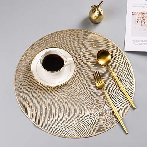 baisheng Placemats Set of 4 Metallic Round Cutout Crossweave Woven Vinyl Non-Slip Insulation Stain Resistant Placemat Washable Table Mats(4pcs placemats-Gold) ()