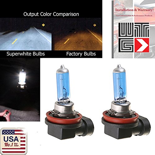 WTG H11 1 PAIR 55W Super White Xenon Halogen OEM Headlight Light Bulbs (H11-55w)
