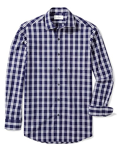 Cotton Plaid Work Shirt (Buttoned Down Men's Classic Fit Spread-Collar Pattern, Large Navy/Blue Plaid, XXL 36/37)