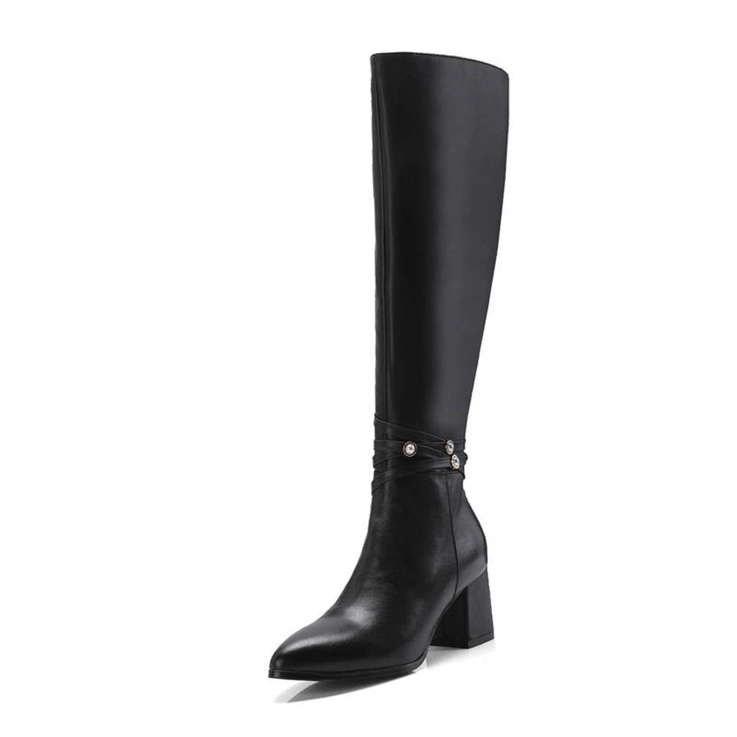 Black Together to create a miracle 2018 Newest Knee Genuine Leather Boots Warm Autumn Winter Boots high Heels shoes Woman