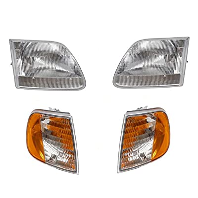4 Piece Combo Set of Headlights w/Park Signal Corner Marker Lamp Units Replacement for Ford Pickup Truck SUV