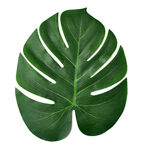 Vsolucky 12pcs Artificial Soft Tropical Palm Leaves 14