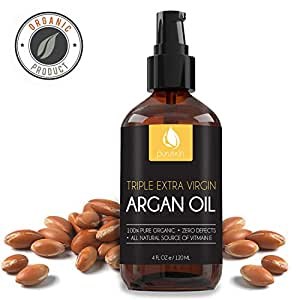 BEST VIRGIN ARGAN OIL for Beautiful Hair, Face, & Nails, Organic & Pure Moroccan, Works Great with Shampoo, Serums, & Conditioners for Growth, Perfect Moisturizer for Dry & Acne Prone Skin Care, 4 oz.