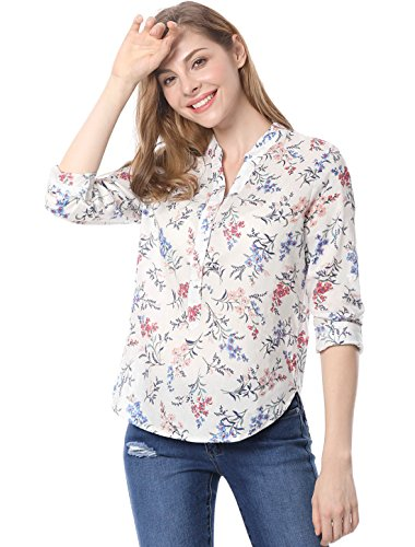 Allegra K Women Long Sleeves Half Placket High-Low Hem Floral Shirt L Red Orange One Button Print Blouse