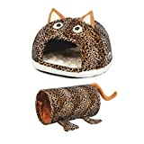 Petories Self Warming Pet House, Bed and Tunnel Combo for Small Cats and Puppies