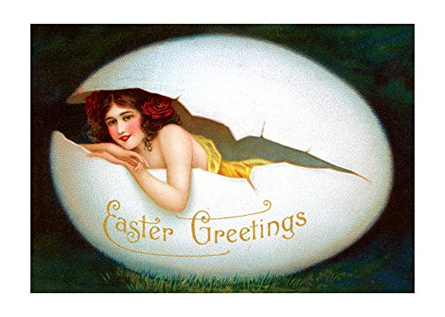 Postcard Easter (Smiling Woman in Egg Easter Greetings Postcard. 6 cards, individually bagged with envelopes (Greeting Card-Easter))