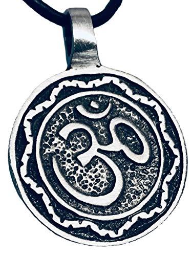 Pewter Circle Ohm Om Yoga Buddha Namaste Pendant on Leather Necklace