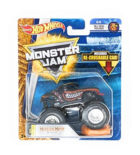 (Hot Wheels Monster Jam 2018 New Look Monster Mutt Rottweiler with Re-Crushable Car 6/6 MJ Dog)