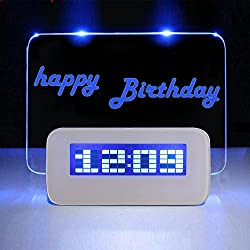 Message Board Alarm Clock Electronic Fluorescent LED Digital Display Time Date Temperature With Birthday Reminder and Music Appreciation Travel Home Bedroom Bedside Memo Clock Battery USB Dual Power