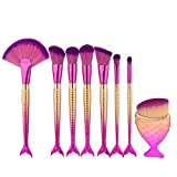 7pcs Mermaid Makeup Brush Set Professional Kabuki Cosmetic Foundation Blending Eyeliner Face Powder Contour Cream Make up Fish Tail Brush Kit BESTLAND (7PCS)