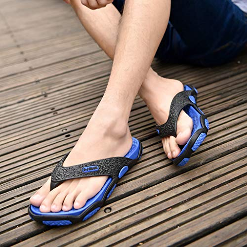 KESEELY Summer Men's Open Toe Slippers Fashion Beach Shoes Massage Bathroom Round Head Flip Flops Beach Casual Slippers Blue by KESEELY (Image #4)